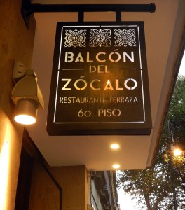 Balcon del Zocalo sign, a highly recommended restaurant in Mexico City