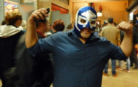 At the arena with the Luchas Libres, masked Mexican wrestlers that are insanely popular