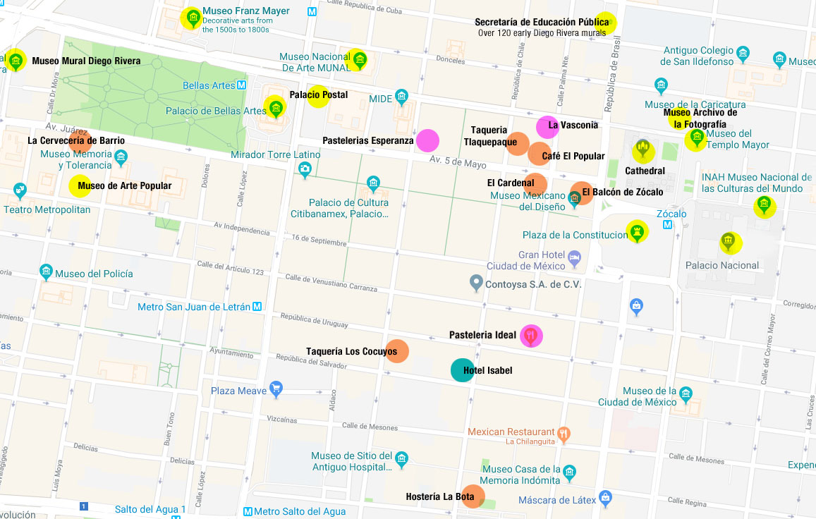 Map of Mexico City's Zocalo highlights