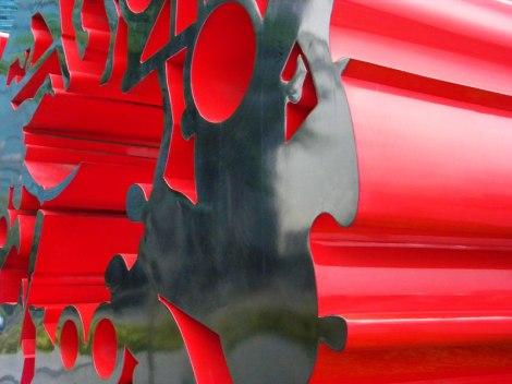 Red Metallic Sculpture in Singapore