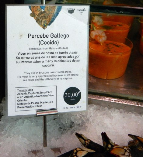 Barnacle note at San Miguel Market, Madrid's 'Gastronomic Temple' in Spain