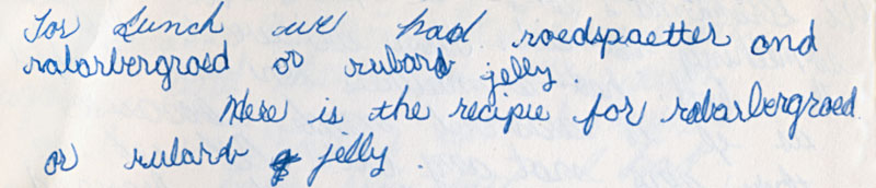 Travel Journal for Denmark 1965 remembering Roedspaetter fish and rhubarb jelly