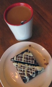 A brownie and coffee at Barkley Coffee in Ucluelet on Vancouver Island, Canada