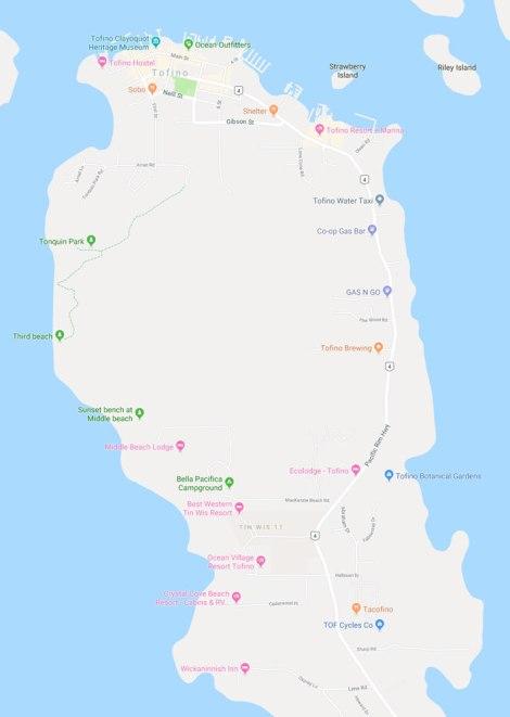Google map showing the area around Tofino
