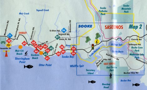 Map of Sooke and nearby attractions