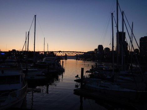 View of the bridge from the Spruce Harbour Marina in Vancouver's False Creek South
