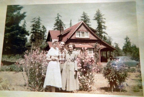 My mom, dad and my mom's friend Norma at family homestead in Chemainus c.1952