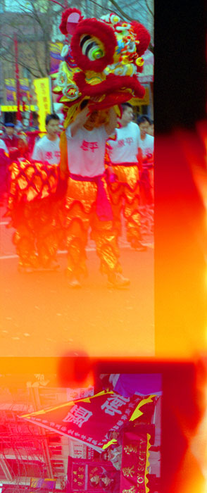 A flaming light leak in my old camera gave a new look to the Chinese New Year's Parade in Vancouver's Chinatown