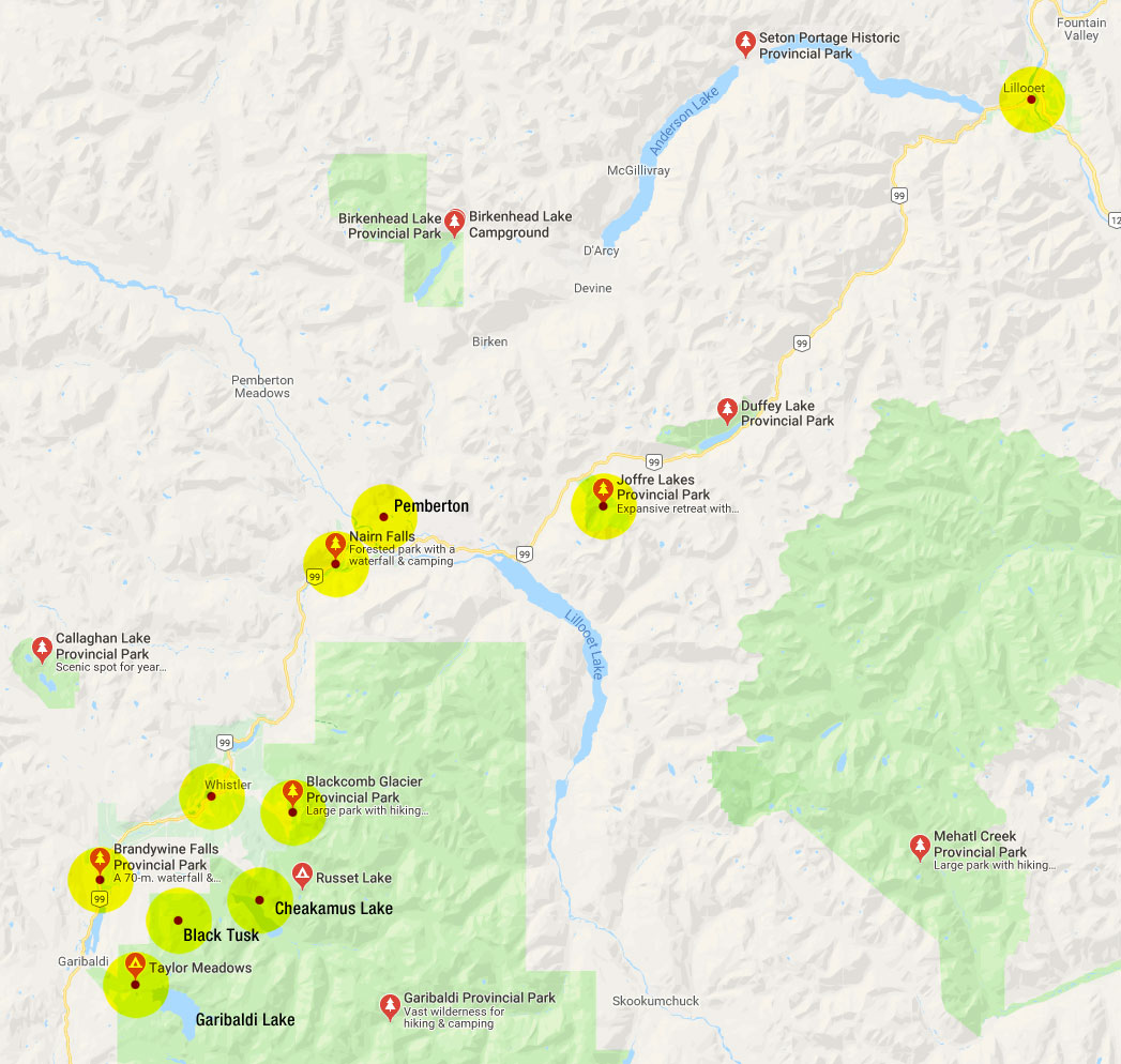 Google map of Hwy 99 from Whistler to Lillooet, BC, Canada