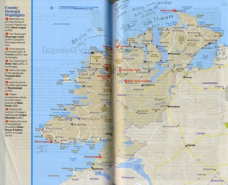 Our route on the Donegal map in our Lonely Planet Guidebook