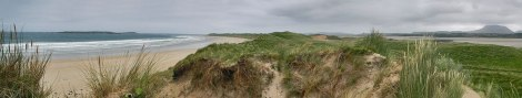 Panorama of Traemore Beach in Ireland