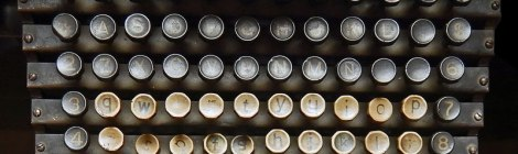 Telegraph keys in a display of historic postal artifacts in the Palacio Postal in Mexico City