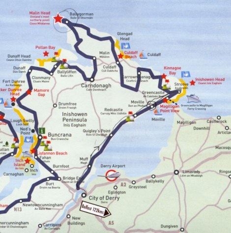 The Inishowen Peninsula in County Donegal, our route on a placemat map