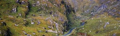 A narrow and twisty road through the Ballighbeama Gap in Ireland