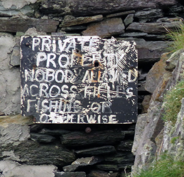 'These Castle Ruins are Private' sign at Galley Head in Ireland