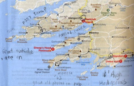 Lonely Planet Map of Route we took through Beara Peninsula and then Mizen Head