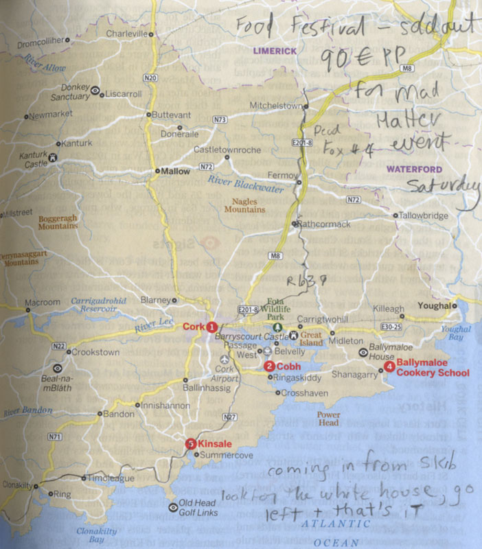 Route on a Lonely Planet Map of Kinsale and Cork