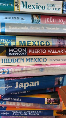 A collection of old travel guide books