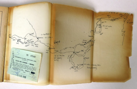 travel guide books: route plan for a trip to Mexico in 1983