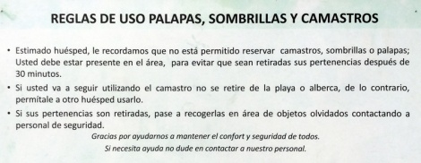 Rules for uso palapas, sombrellas y camastro