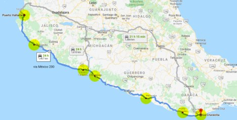 Annotated Google Map of Mexican Pacific Coastal Route