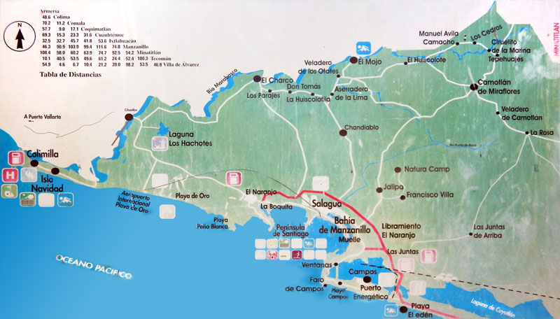 Sign with map of Manzanillo on the Pacific Coast of Mexico