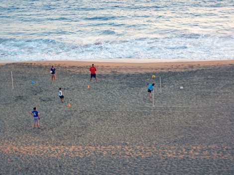 soccer game on the beach, in front of the Hotel Marbella in Manzanillo
