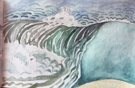 watercolour sketch of the 'dangerous waters' by our hotel