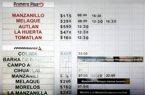 Bus schedule from Puerto Vallarta to Manzanillo in Mexico