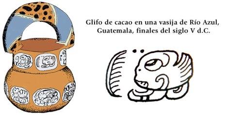 Glifo de cacao en una vasija Río Azul, Guatemala, finales del siglo V d.C.