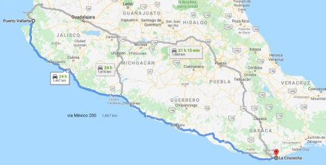 Google Map of the Coastal Route for Mexico 2019