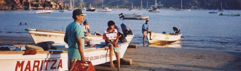 Fishing boats on the beach in Zihuatanejo, Mexico