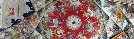 Painted ceiling in Bundi Fort, India