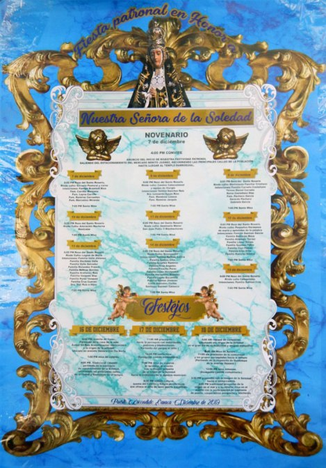 Poster announcing the festivities that take place around December 18th, the day that the Virgen de Solitud was taken out of the church and carried down to the water to bless the fishing fleet
