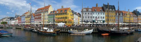 Bright houses in Nyhavn District in Copenhagen, Denmark