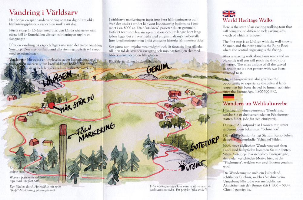 Pamphlet containing a map of a 6 km petroglyph walk through farmer's fields