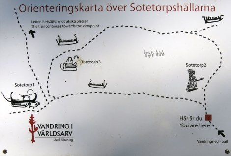 Walking route map of Tanum, a UNESCO World Heritage Rock Art Centre with petroglyphs by the Bronze Age people of Sweden