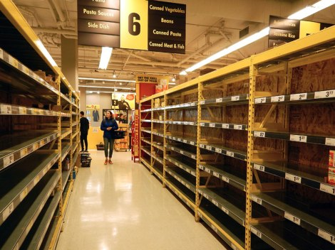 March 14, 2020: empty shelves at my local grocery store