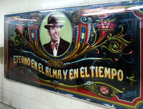 Gardel was the man who first put words to tangos creating a sensation around much of the Americas and Europe. This great tango singer shows up on this decorative painted filete mural in the subte (subway) in Buenos Aires