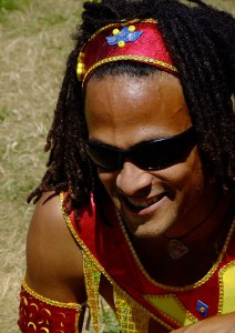 A performer relaxes at the Caribbean Festival in North Vancouver