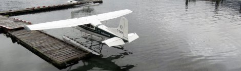 Float planes at dock in Tofino, Vancouver Island