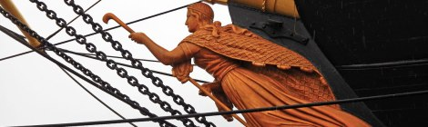 Figurehead on the wooden warship, the Frigate Jylland in Ebeltoft, Denmark