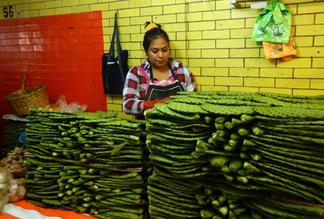Nopales avialble at stall number 56 in the Merced Market in Mexico City