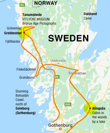 Annotated Google map of Bohuslan, Sweden's Northwest Coast