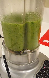 Tomatillos and cilantro in the blender