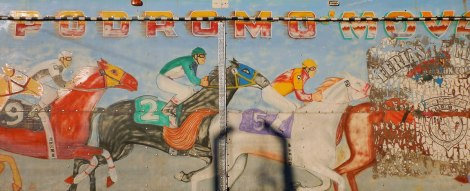 mural of a horse race in Bucerias, Mexico