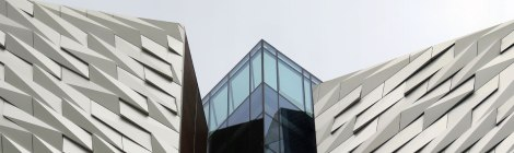 Silvery sheen of the Titanic Building in Belfast, Ireland UK