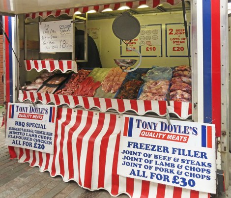 Meat Market on Market Day in Mold, Wales