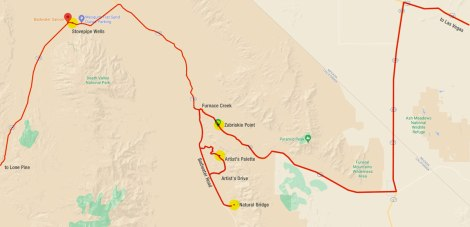Annotated Google map showing our drive through Death Valley in October 2009.