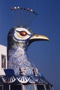 Sendai to Matsushima ferry tour: detail of the peacock head